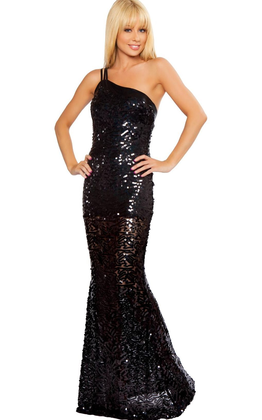 Black Glitters Star Evening Gown