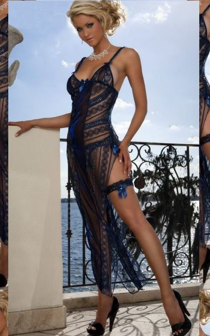 Midnight Blue Long Lingerie Dress