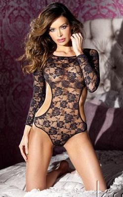 Black Floral Lace Teddy Bikini Back Lingerie Intimates