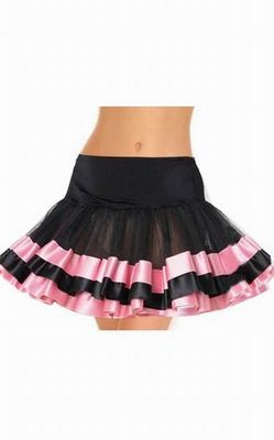 Black And Pink Satin Trimmed Petticoat
