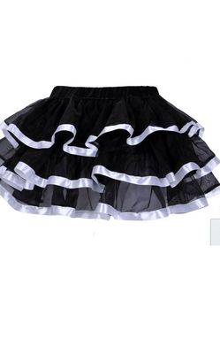 Black Tulle Mini Skirts With Layers and white Edging