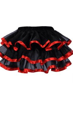 Black Tulle Mini Skirts With Layers and Red Edging
