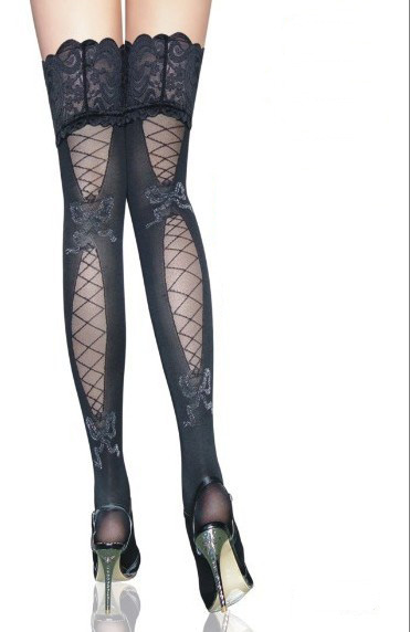 Dark Gray Thigh-High Stockings with Partial Fishnet Pattern and Lace Tops