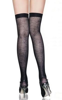 Black Thigh High Stockings with Spider Web Design