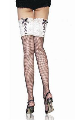 Black Fishing-net Stockings With White Embroideries Lace