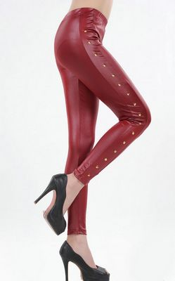 Gorgeous red Leather look design leggings