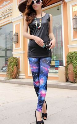 Fashion women space galaxy print leggings pants