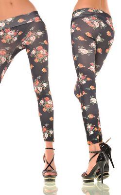 Sexy Black with Flower Print Leggings