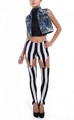 Fashion Tailored Black and white vertical stripes leggings
