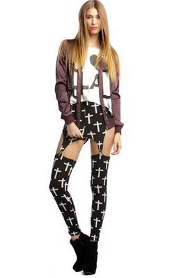 Fashion Goth Rock Garter Buckle Black Cross Print Stretchy Tights Pants