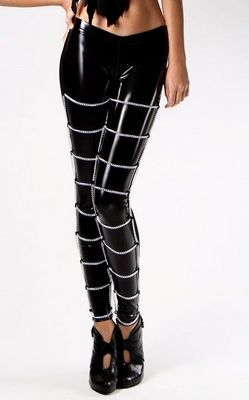 Women wet look metal chain leggings tight pants