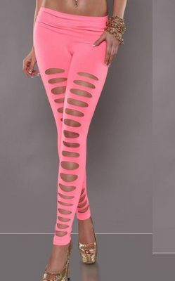 Women Fashion Solid Color Pink Cut Out Punk Leggings