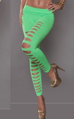 Women Fashion Solid Color Green Cut Out Punk Leggings