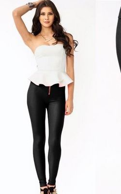 Front Zipper Shiny Finish Color High Waist Skinny Sexy Trends Leggings Pants