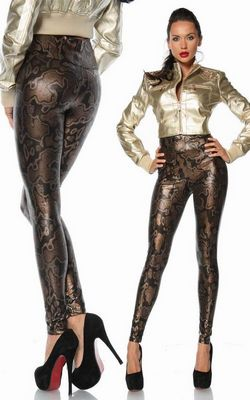 Sexy Skinny Faux Snake Leather Print Metallic Leggings Pants Tights