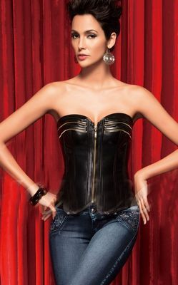Elegant Leather Corset With Gold Zipper