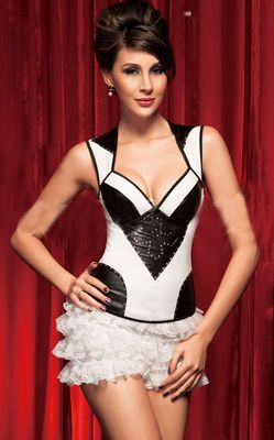 Lycra Fashion Halter Corset With Diamante Design
