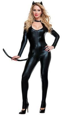 Black leather unitard Catwoman costume