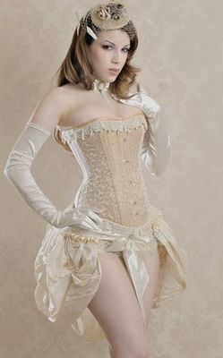 Sexy Underwear Cream Steel Buckle Corset