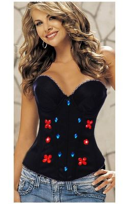 Red Flower and Diamond Corset Black Corset