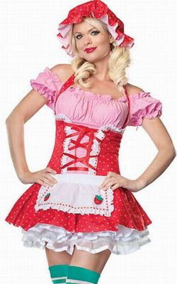 Sexy Strawberry Shortcake Outfit Halloween Costume with strawberry apron dress and matching bonnet.