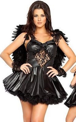 Sexy Black Leather Angel Costume