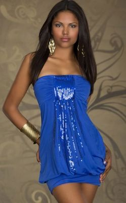 Magical Bandeau Blue Mini Club Dress with Sequins
