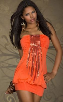 Magical Bandeau Orange Mini Club Dress with Sequins