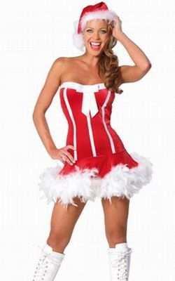 Red Fluffy Hem Strapless Sheath Christmas Costume