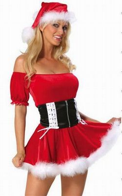Red Off-The-Shoulder Sexy Santa's Helper Halloween Clubwear