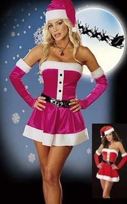 Sexy Purple and Red Cotton Christmas Santa Costume