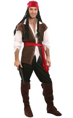 Caribbean Pirate Mens Fancy Dress Costume