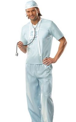 Surgeon Doctor Hospital Uniform Mens Adult Fancy Dress Halloween Costume